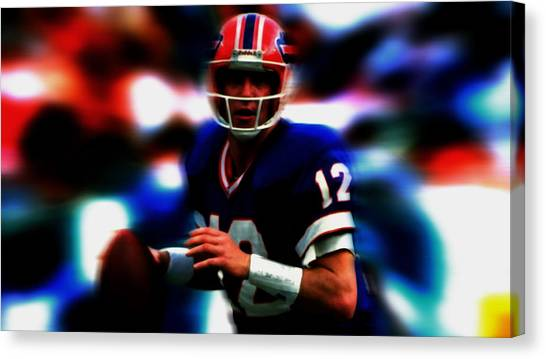 Barry Sanders Canvas Print - Jim Kelly In The Pocket by Brian Reaves