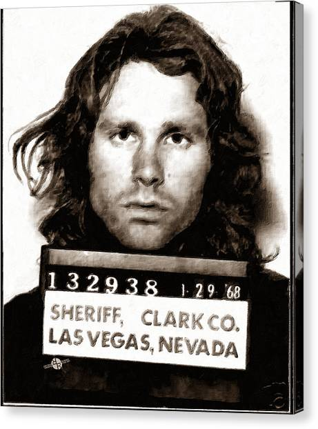 Jim Morrison Mug Shot 1968 Painting Sepia Canvas Print