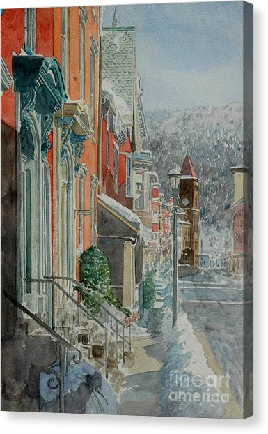 Stoops Canvas Print - Jim Thorpe, Snow by Anthony Butera