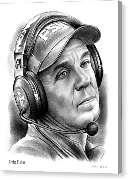College Canvas Print - Jimbo Fisher by Greg Joens