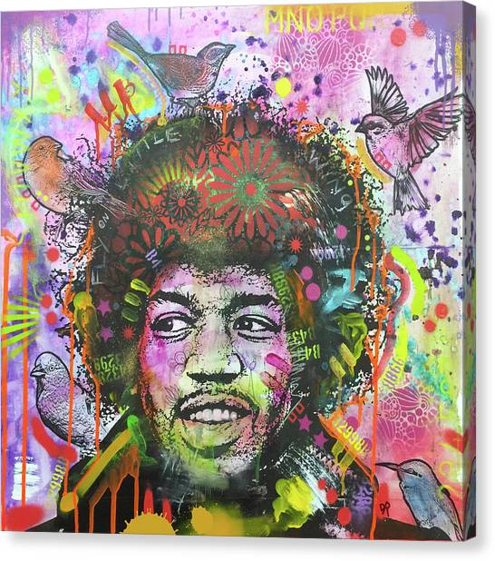 Jimi Hendrix Canvas Print - Jimi Bird Nest by Dean Russo Art