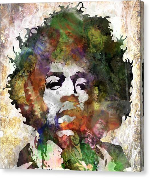 Rock And Roll Canvas Print - Jimi Hendrix by Bobby Zeik