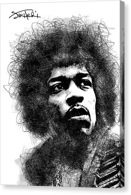 Jimi Hendrix Bw Scribbles Portrait Canvas Print