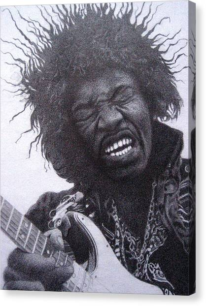 Jimi Hendrix Drawing Canvas Print by Lana Cheng
