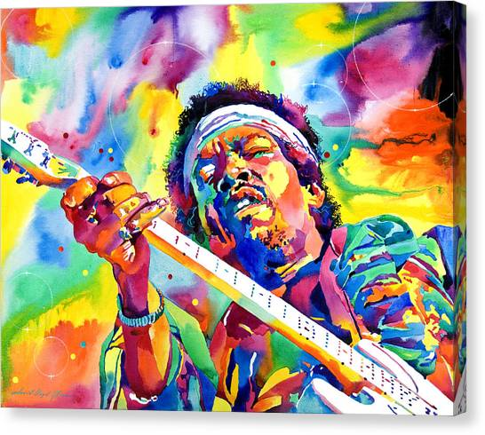 Jimi Hendrix Canvas Print - Jimi Hendrix Electric by David Lloyd Glover