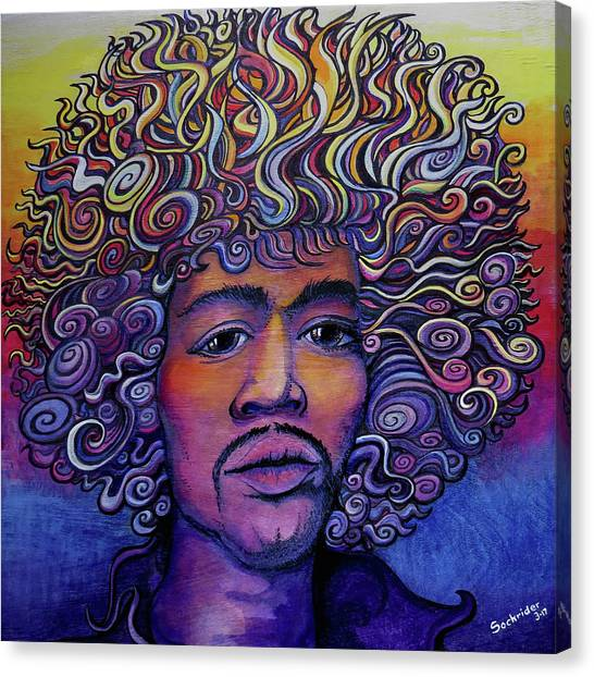 Jimi Hendrix Groove Canvas Print by David Sockrider