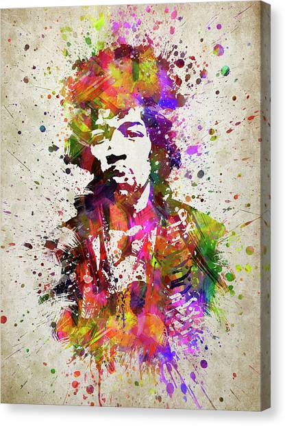 Jimi Hendrix Canvas Print - Jimi Hendrix In Color by Aged Pixel