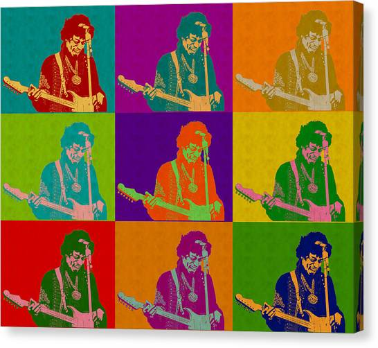 Jimi Hendrix In The Style Of Andy Warhol Canvas Print