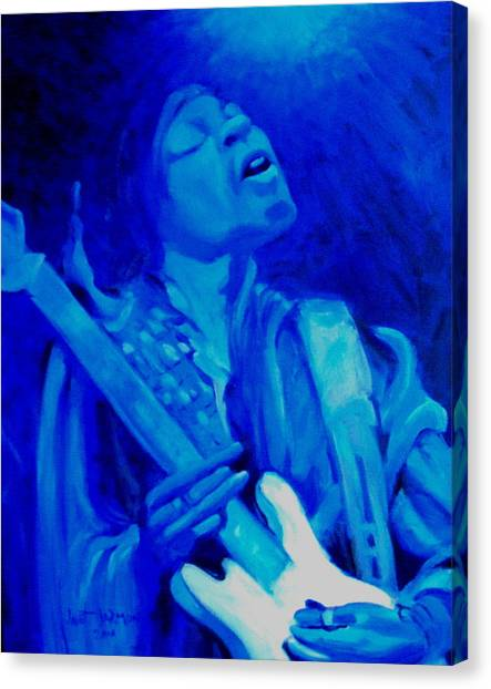 Canvas Print featuring the painting Jimi Hendrix by Jeanette Jarmon