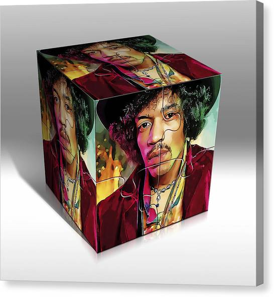 Guitar Picks Canvas Print - Jimi Hendrix by Marvin Blaine