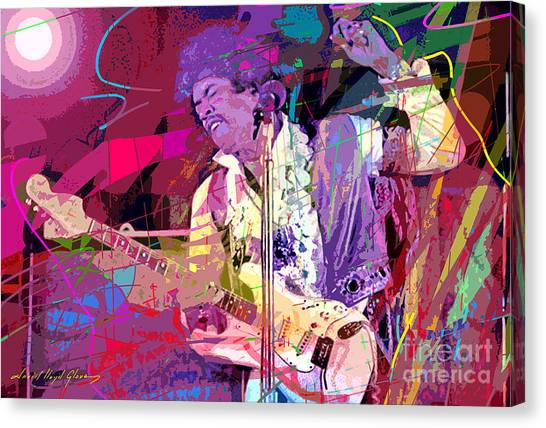 Jimi Hendrix Canvas Print - Jimi Hendrix Monterey Pops by David Lloyd Glover