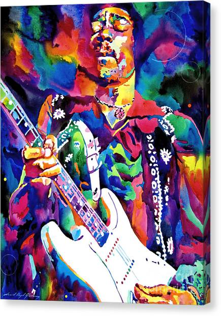 Jimi Hendrix Canvas Print - Jimi Hendrix Purple by David Lloyd Glover