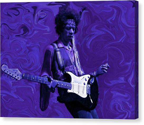 Music Canvas Print - Jimi Hendrix Purple Haze by David Dehner