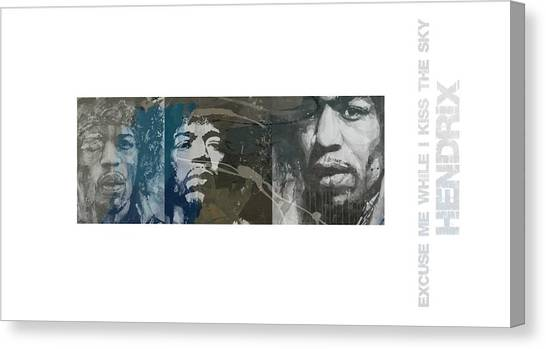 Jimi Hendrix Canvas Print - Jimi Hendrix Triptych by Paul Lovering
