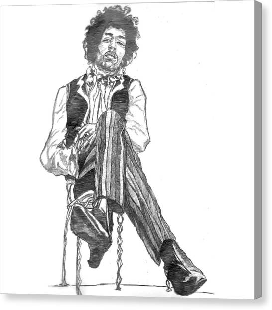 Bands Canvas Print - Jimi by Rachel Natalie Rawlins