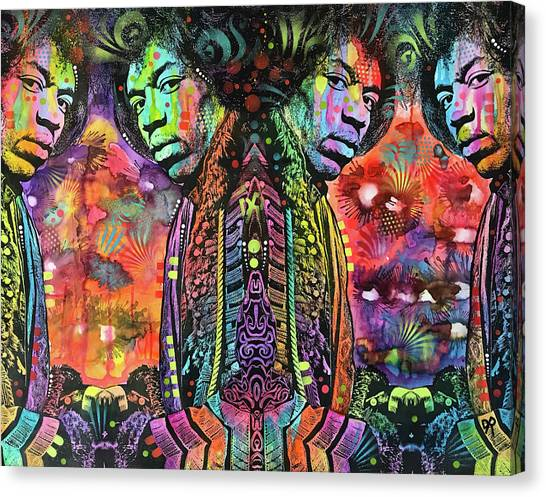 Jimi Hendrix Canvas Print - Jimi Reflect by Dean Russo Art