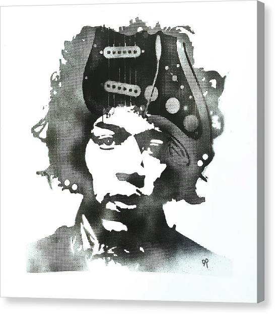 Jimi Hendrix Canvas Print - Jimi Strat Head by Dean Russo Art