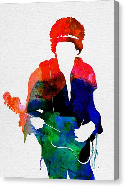 Electric Guitars Canvas Print - Jimi Watercolor by Naxart Studio