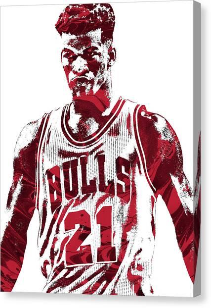 Chicago Bulls Canvas Print - Jimmy Butler Chicago Bulls Pixel Art 2 by Joe Hamilton