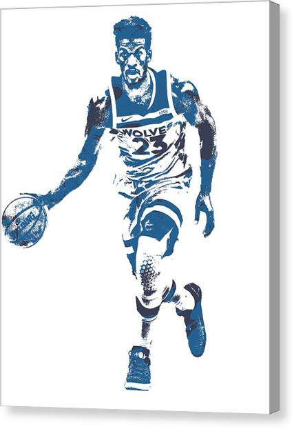 Minnesota Timberwolves Canvas Print - Jimmy Butler Minnesota Timberwolves Pixel Art 5 by Joe Hamilton