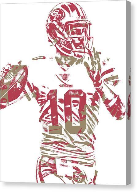 San Francisco 49ers Canvas Print - Jimmy Garoppolo San Francisco 49ers Pixel Art 1 by Joe Hamilton