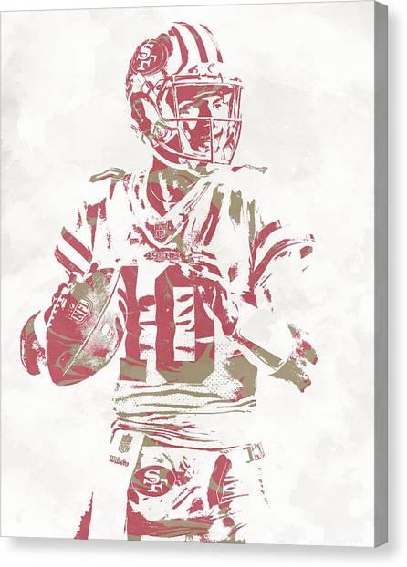 San Francisco 49ers Canvas Print - Jimmy Garoppolo San Francisco 49ers Pixel Art 10 by Joe Hamilton