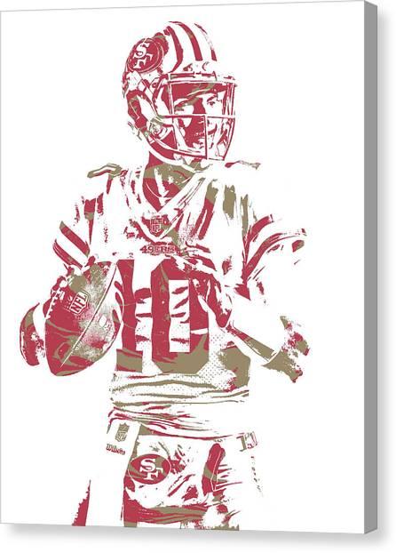 San Francisco 49ers Canvas Print - Jimmy Garoppolo San Francisco 49ers Pixel Art 4 by Joe Hamilton