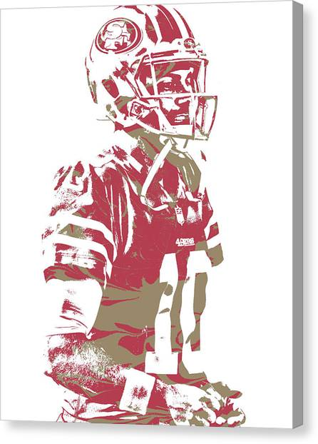 San Francisco 49ers Canvas Print - Jimmy Garoppolo San Francisco 49ers Pixel Art 5 by Joe Hamilton
