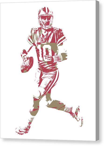 San Francisco 49ers Canvas Print - Jimmy Garoppolo San Francisco 49ers Pixel Art 6 by Joe Hamilton