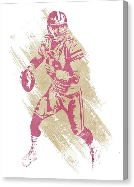 San Francisco 49ers Canvas Print - Jimmy Garoppolo San Francisco 49ers Water Color Art 1 by Joe Hamilton