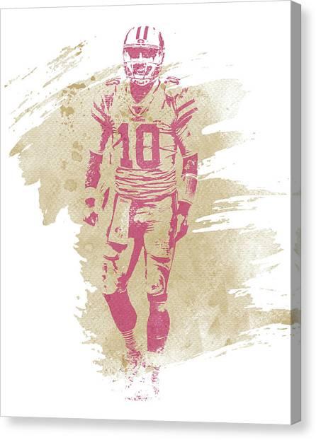 San Francisco 49ers Canvas Print - Jimmy Garoppolo San Francisco 49ers Water Color Art 3 by Joe Hamilton