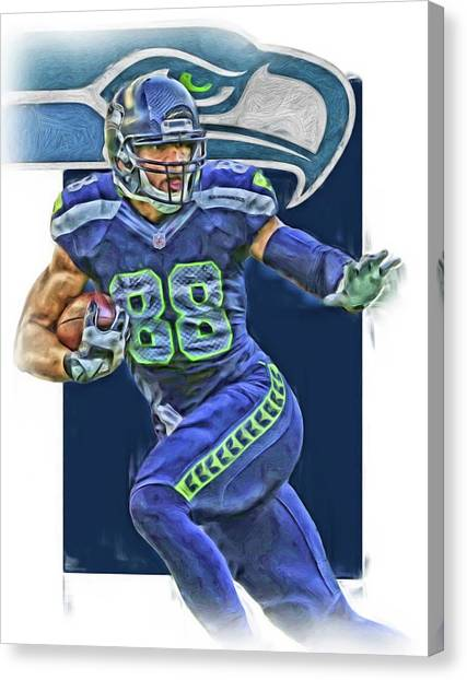 Seattle Seahawks Canvas Print - Jimmy Graham Seattle Seahawks Oil Art by Joe Hamilton