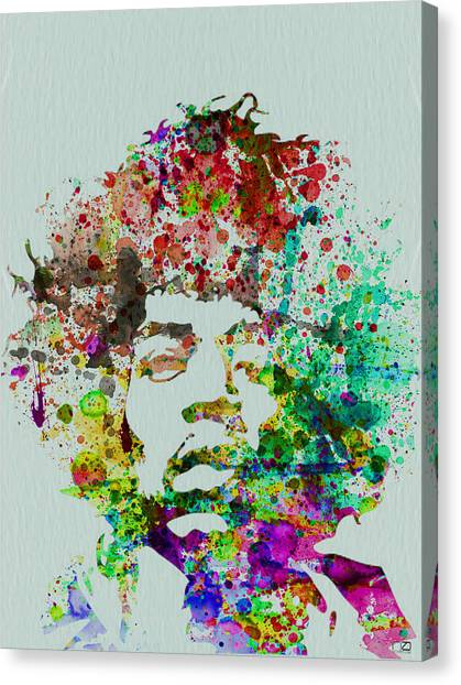 Music Canvas Print - Jimmy Hendrix Watercolor by Naxart Studio