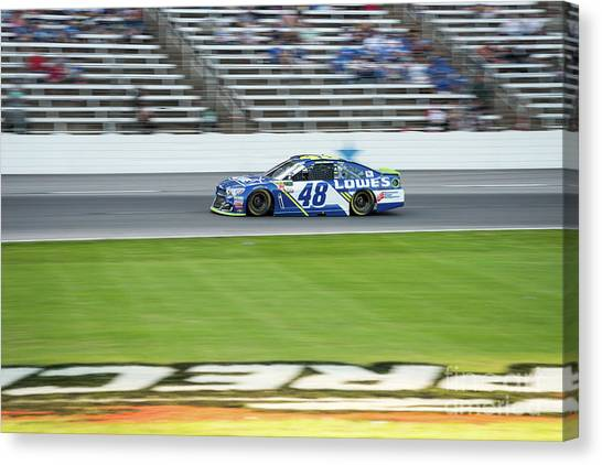 Racecar Drivers Canvas Print - Jimmy Johnson With The Infield At Texas Motor Speedway by Paul Quinn