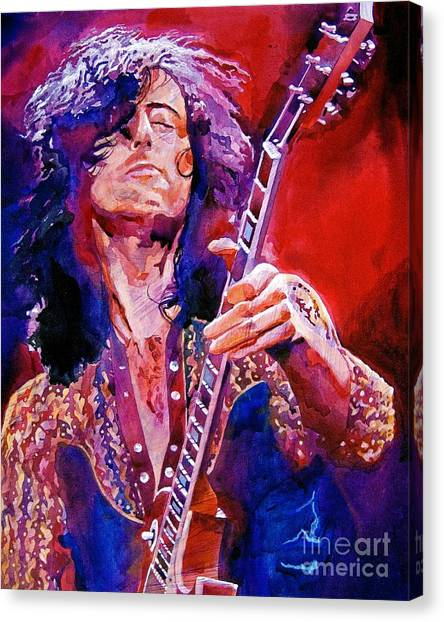Led Zeppelin Canvas Print - Jimmy Page by David Lloyd Glover
