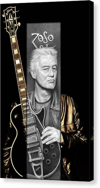 Led Zepplin Canvas Print - Jimmy Page Drawing by Jeffrey St Romain