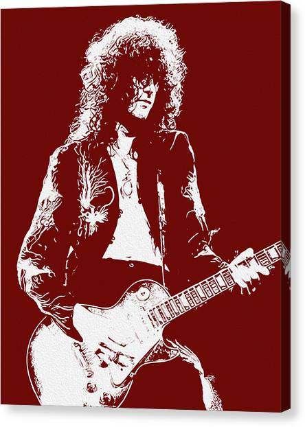 Led Zeppelin Artwork Canvas Print - Jimmy Page In Red Portrait by Andrea Mazzocchetti