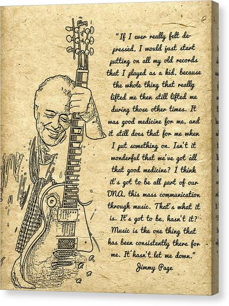Jimmy Page Canvas Print - Jimmy Page Quote by Sara Pixel Pixie