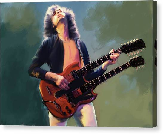 Jimmy Page Canvas Print - Jimmy Page  Stairway  by Iconic Images Art Gallery David Pucciarelli