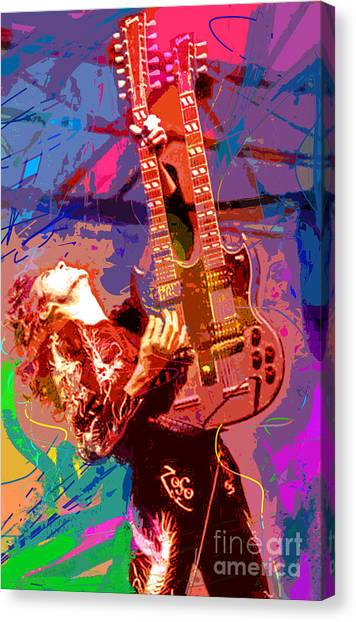 Led Zeppelin Canvas Print - Jimmy Page Stairway To Heaven by David Lloyd Glover