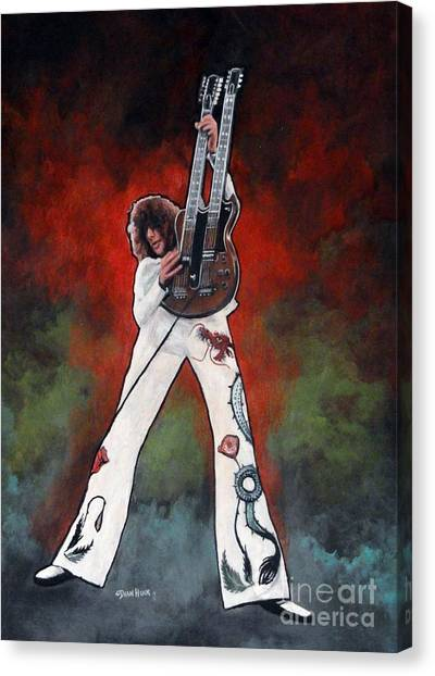 Led Zeppelin Artwork Canvas Print - Jimmy Page With Multi Color Background by Dean Huck
