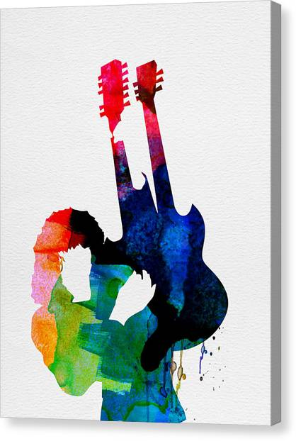 Led Zeppelin Canvas Print - Jimmy Watercolor by Naxart Studio