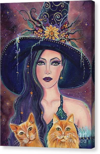 Witches Canvas Print - Jinx And Jazz Halloween Witch With Kitties by Renee Lavoie