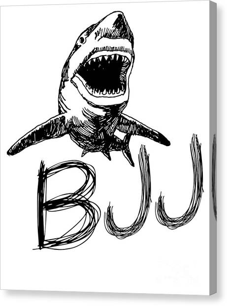 Jujitsu Canvas Print - Jiu Jitsu Bjj Shark Brazilian Bjj Dark by J P