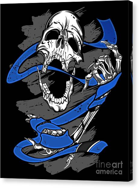 Jujitsu Canvas Print - Jiu Jitsu Bjj Skull Jiu Jitsu Blue Belt Light by J P