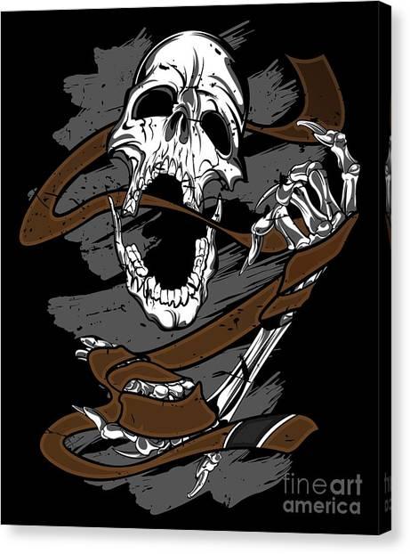 Jujitsu Canvas Print - Jiu Jitsu Bjj Skull Jiu Jitsu Brown Belt Light by J P