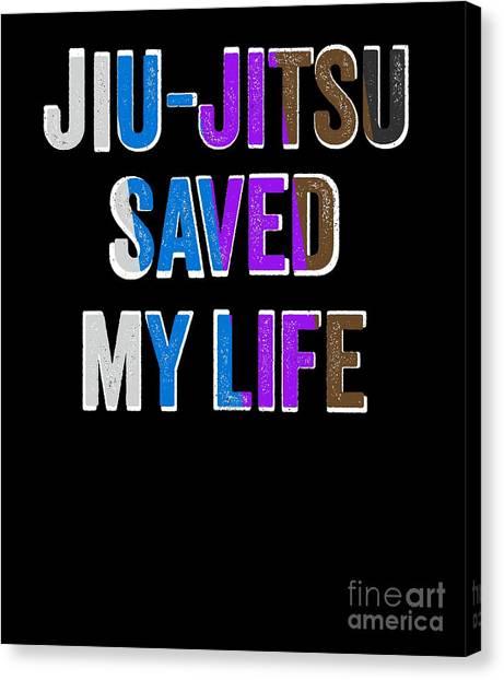 Jujitsu Canvas Print - Jiu Jitsu Saved My Life Jujitsu Bjj Gift Light by J P