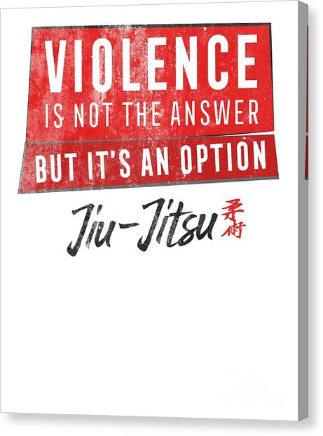 Jujitsu Canvas Print - Jiu Jitsu Violence Not The Answer Dark Jujitsu Bjj Gift Dark by J P