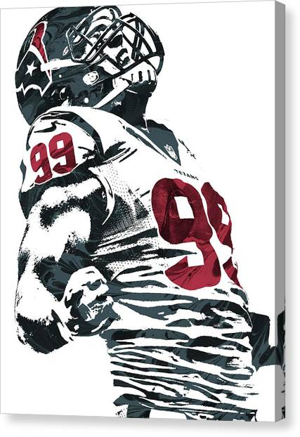 Houston Texans Canvas Print - Jj Watt Houston Texans Pixel Art 2 by Joe Hamilton