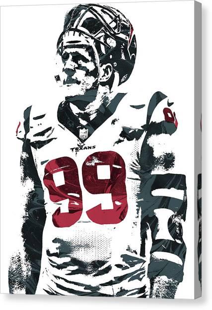 Houston Texans Canvas Print - Jj Watt Houston Texans Pixel Art 4 by Joe Hamilton